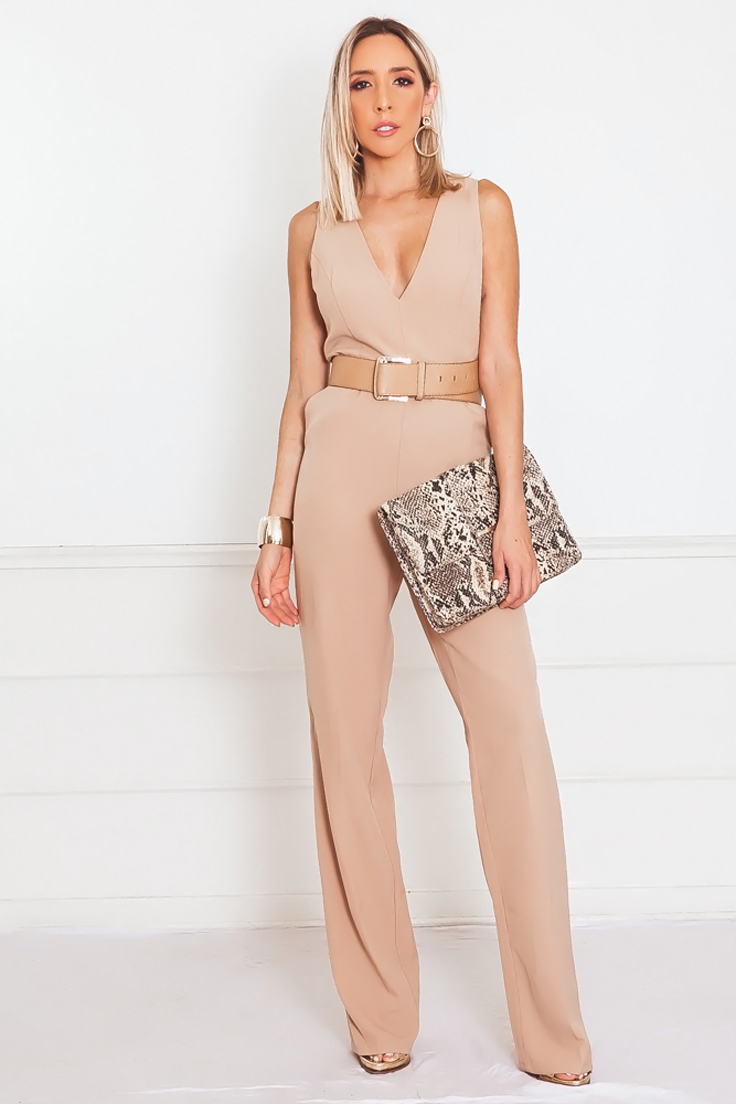 Sophisticated Jumpsuit with Lace-Up Detail
