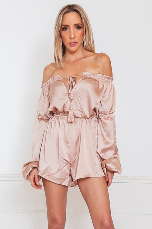 Off-Shoulder Satin Romper with Tie Detail