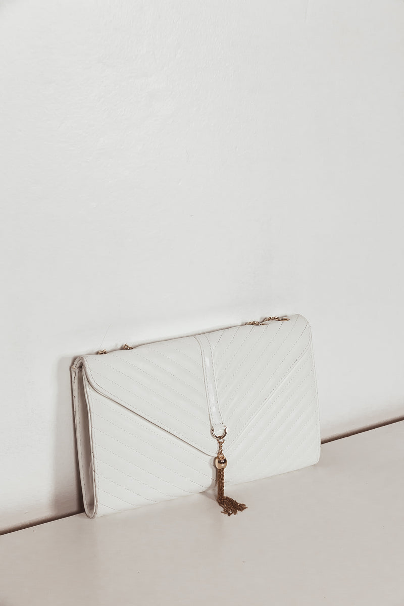 Chain Handle Medium Bag - White