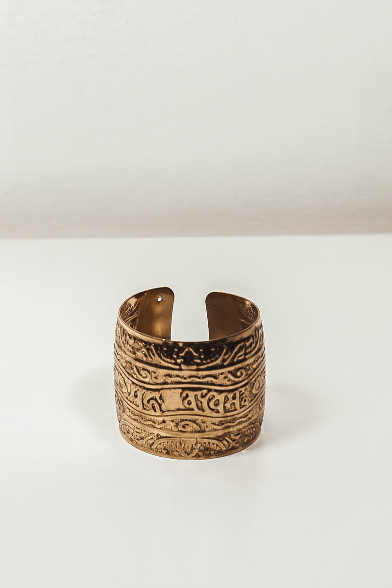 Engraved Metal Cuff - Gold