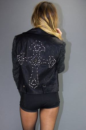 STUDDED CROSS LEATHER JACKET - Black (Final Sale) - Haute & Rebellious