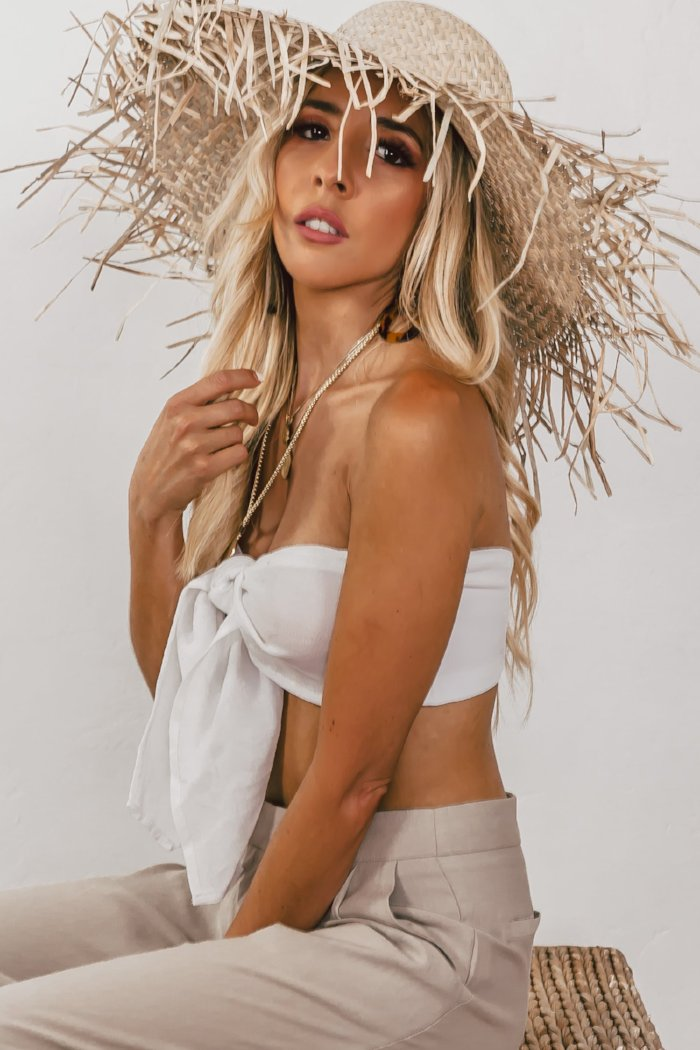 Large Straw Hat with Fringe Brim