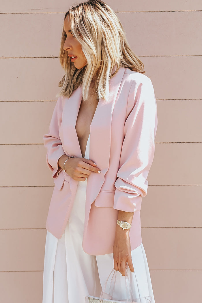 Ruched Sleeve Blazer - Blush