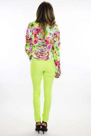 NEON COLOR SKINNY PANT - Lime - Haute & Rebellious