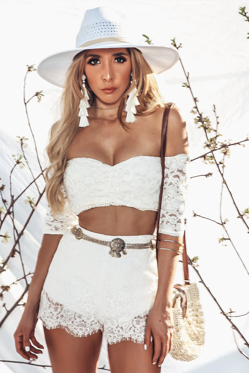 Off Shoulder Lace Top - White
