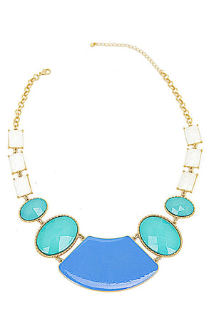 BIG STONE NECKLACE - Mint/Blue - Haute & Rebellious