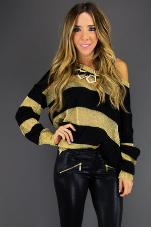 STRIPE METALLIC SWEATER - Haute & Rebellious