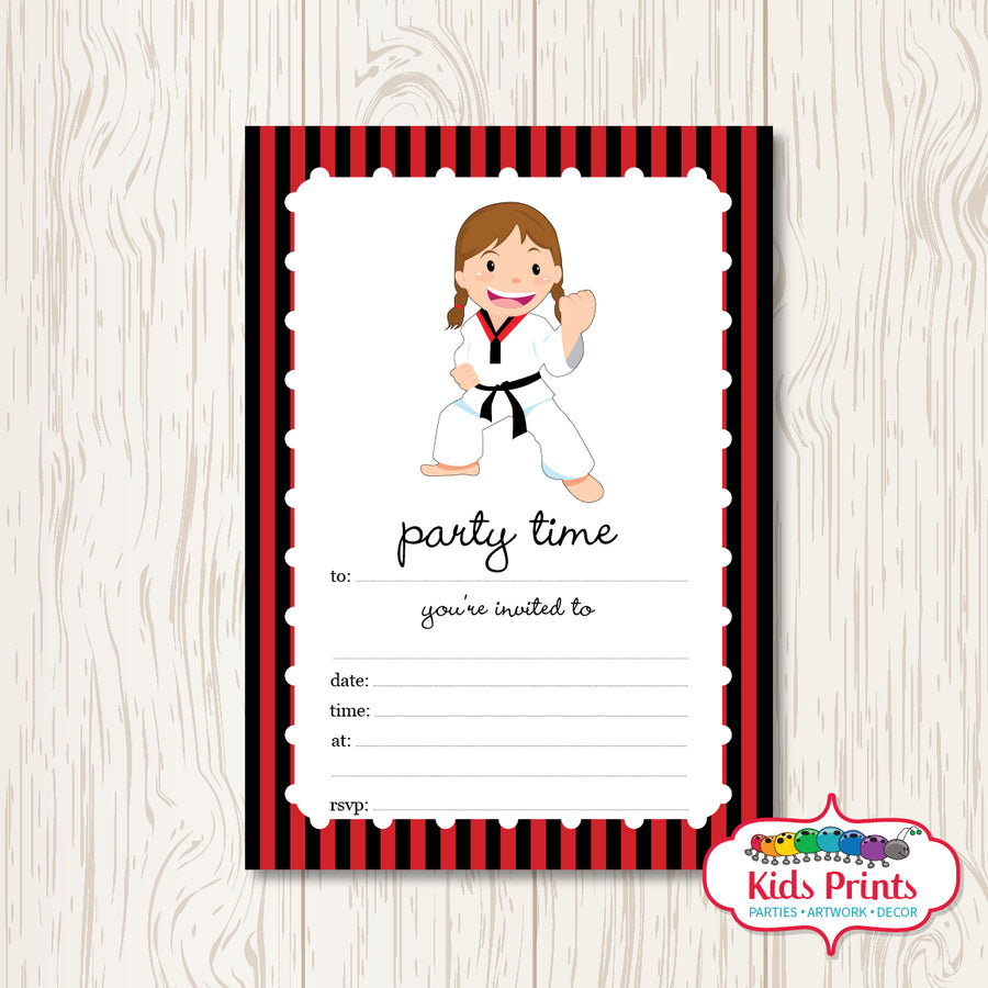 Girls Taekwondo Printable Birthday Invitation