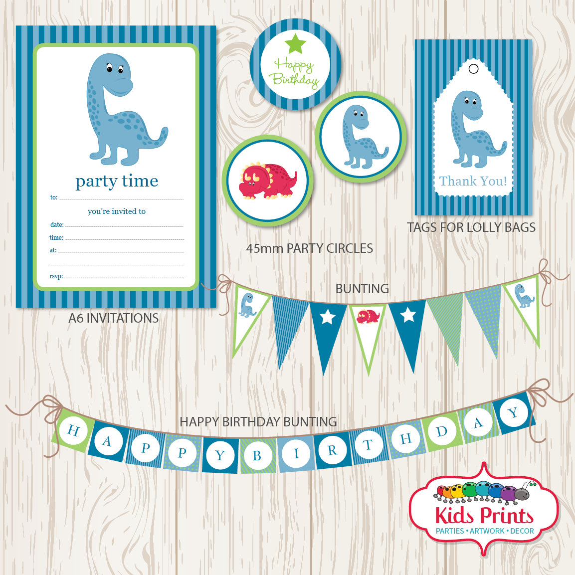 Blue Dinosaur Printable Party Stationery