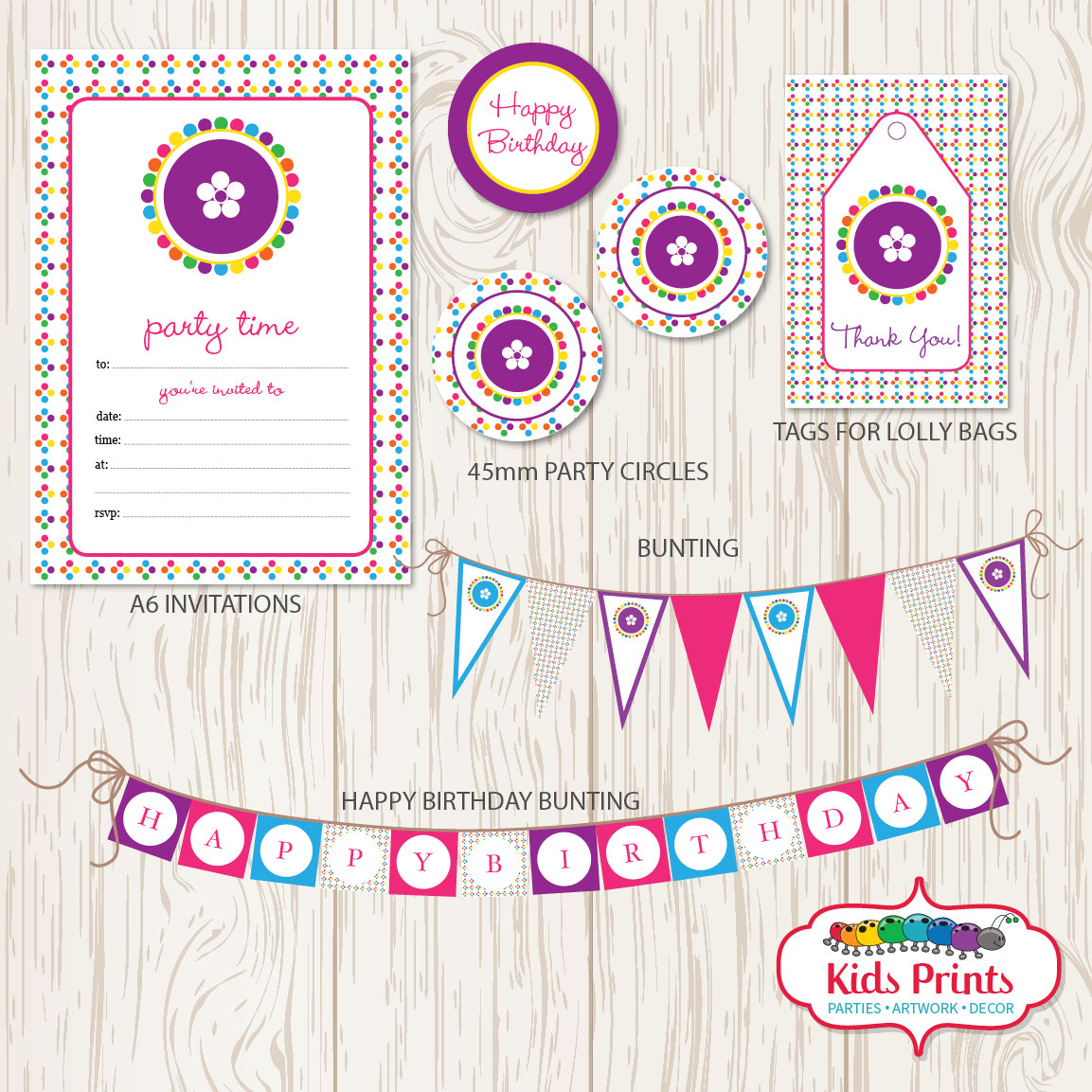 Coloured Dots Printable Party Stationery