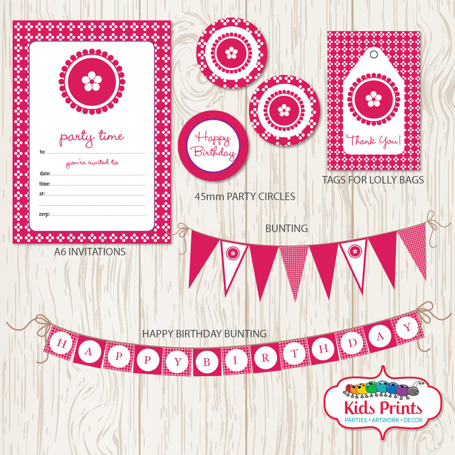 Pink Dots Printable Party Stationery