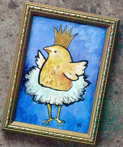 Little Chick Ballerina Original Painting - andralynn-creative-designs