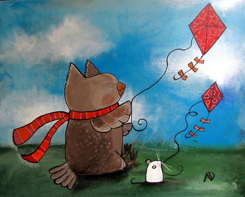 Owl Kite Flying Original Painting - andralynn-creative-designs