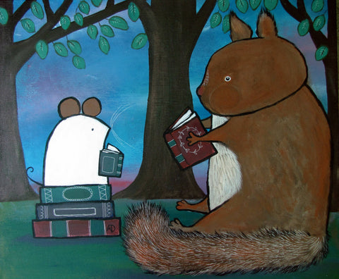 Squirrel Reading Books Original Painting - andralynn-creative-designs