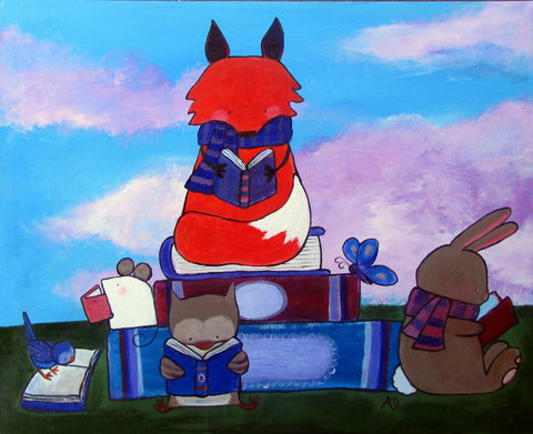 Woodland Animals Reading Original Painting - andralynn-creative-designs