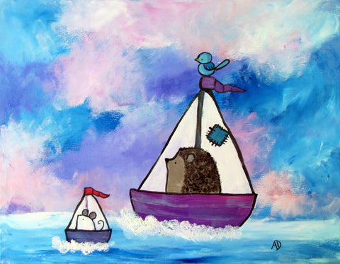 Hedgehog Sailboat Original Painting - andralynn-creative-designs