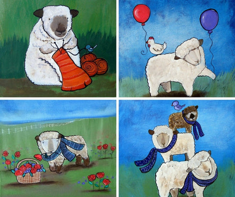 Original Sheep Paintings Set of Four - andralynn-creative-designs