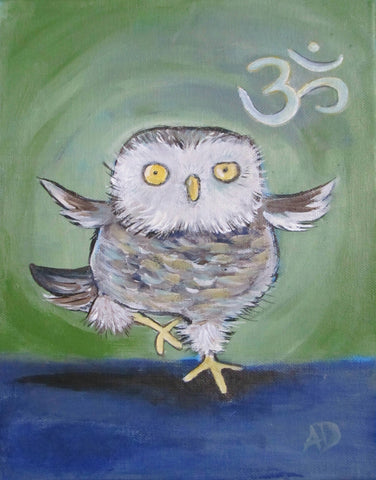 Yoga Owl Original Painting - andralynn-creative-designs