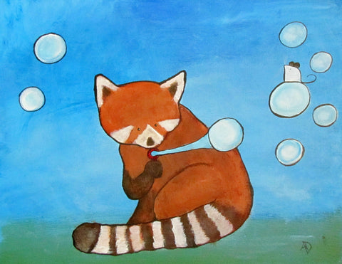 Red Panda Bubbles Original Painting - andralynn-creative-designs