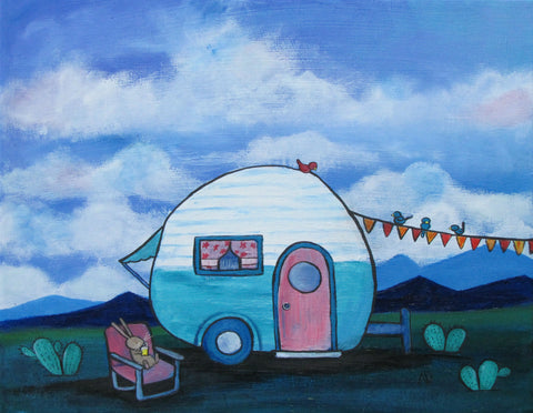 Retro Camper Original Painting - andralynn-creative-designs