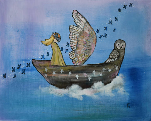 The Owl Boat Original Painting - andralynn-creative-designs