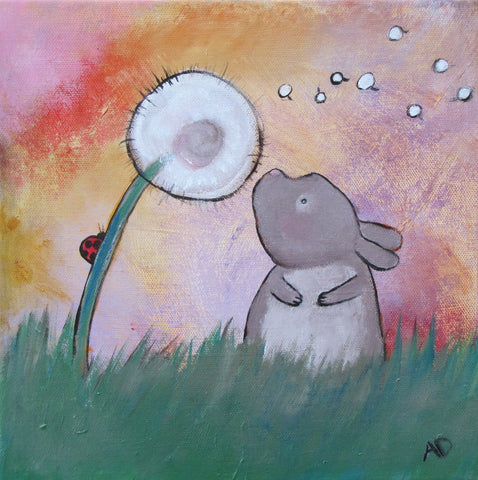 Bunny Wish Flower Original Painting - andralynn-creative-designs