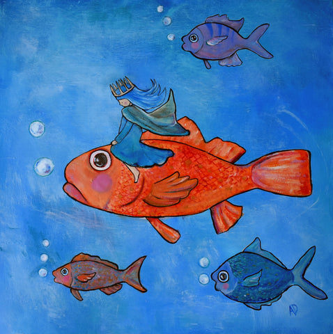 Fish Princess Original Painting - andralynn-creative-designs