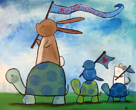 Turtle Parade Original Painting - andralynn-creative-designs