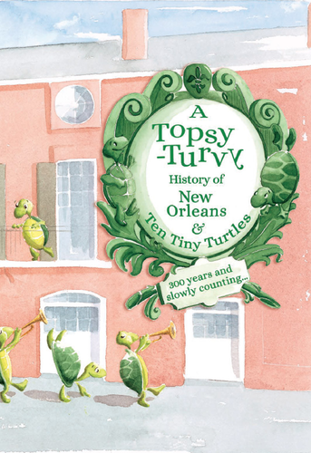 Book cover features illustration of the Brennan's pink facade and turtles dancing by