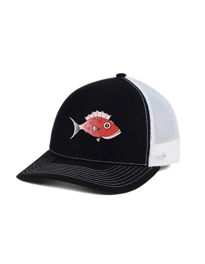 Twill Front Black and White Mesh-back cap with adjustable snap back closure and embroidered Red Fish.