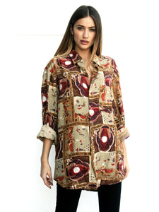 Mrs. Abstract Vintage Printed Shirt for Women Front