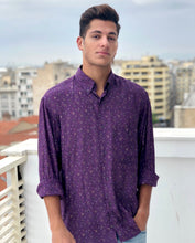 Mr. Purp Vintage Printed Shirt for Men Purple