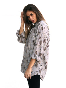 Mrs. Pointilist Vintage Printed Shirt for Women Front