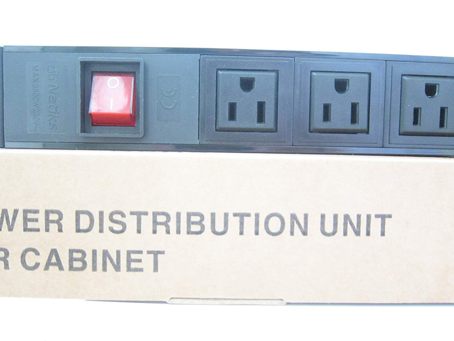 "Power distribution unit, 15A, 125VAC, 8 NEMA outlets, 19"", 1U rackmount electrical outlet with on/off switch"