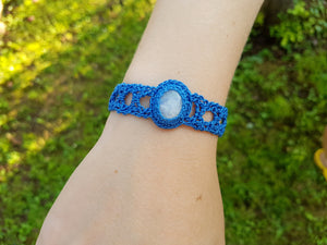 Crochet bracelet with moonstone cabochon