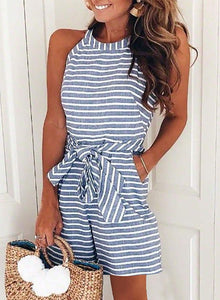 Women Casual Striped Sleeveless Short Romper Jumpsuit