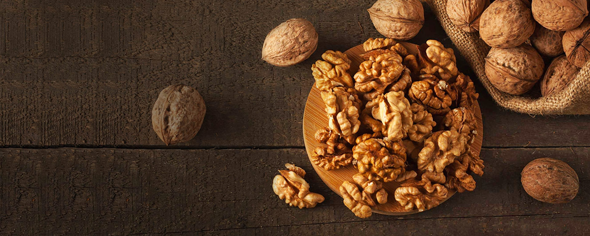 Healthy munching with brown walnut kernels