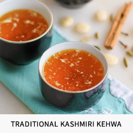 Traditional refreshing kehwa drinks from Kashmir