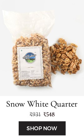 Light in color, snow white kernels are the walnut kernals bronken in quarters