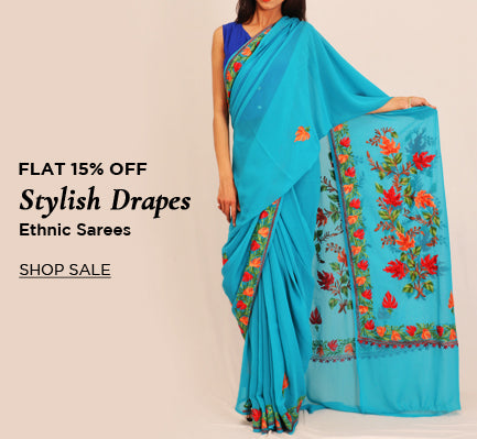 Stylish and ethnic sarees at flat 15% off
