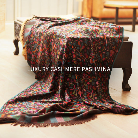 Luxurious and authentic cashmere pashmina all the way from Kashmir.