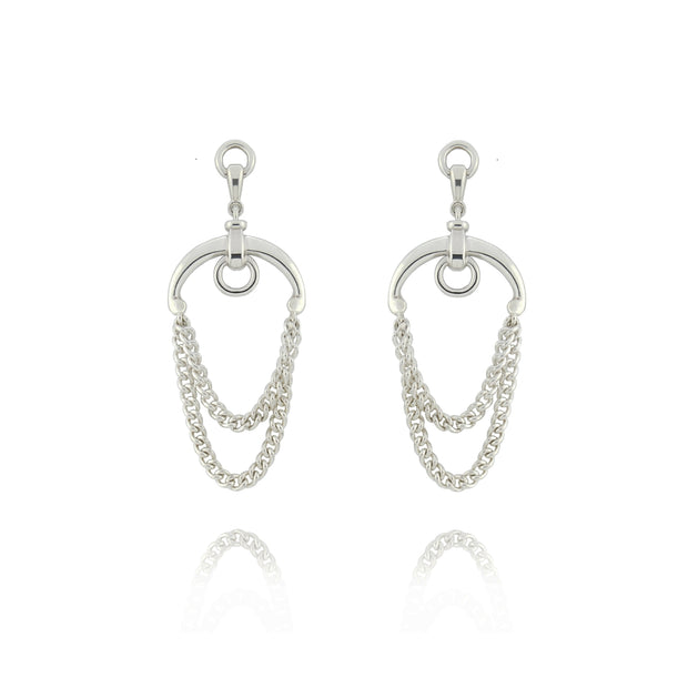 designer solid silver chain equestrian drop earrings