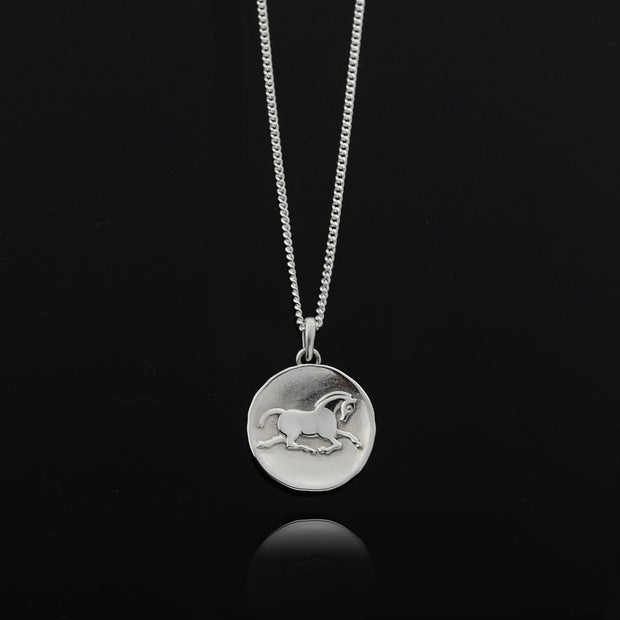 Designer solid silver horse inspired coin necklace on black background.