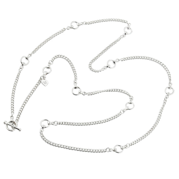 designer solid silver link and curb chain necklace with silver leather strap details and ring and toggle catch.