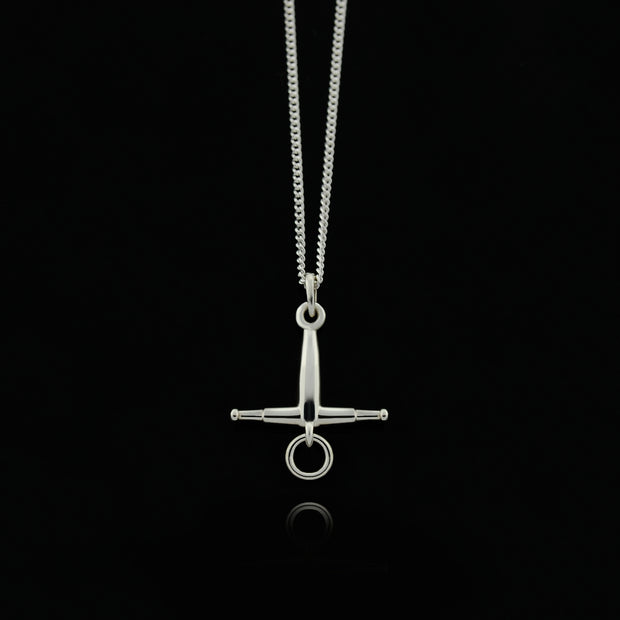 Designer solid silver |fulmer horse but necklace on black background.