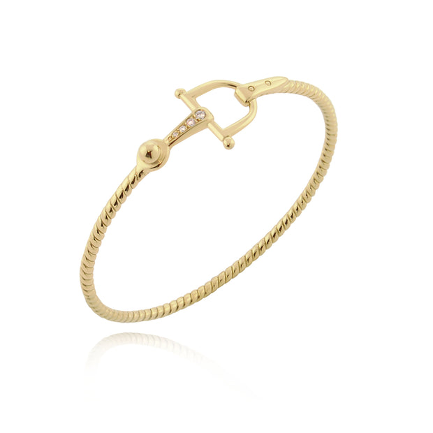 Designer solid 9ct Gold and Diamond horsebit inspired bangle