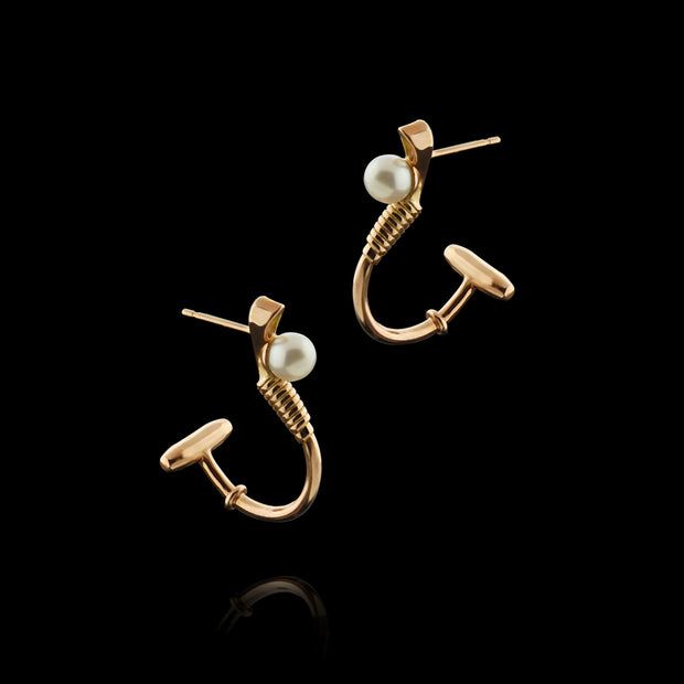 Designer solid 9ct rose gold and cultured pearl polo hoop earrings inspired by the mallet and ball