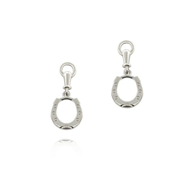 designer solid silver horseshoe drop earrings with bit top detail on white background