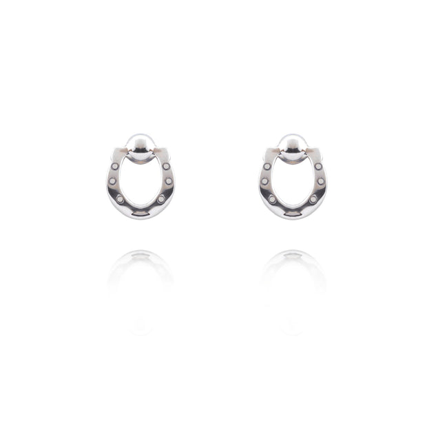 designer silver horseshoe stud earrings