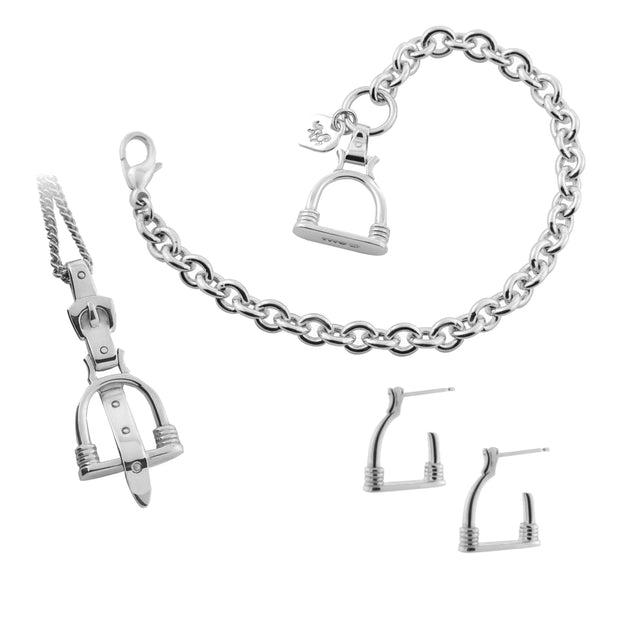 Designer jewellery gift set comprising of vintage stirrup inspired chain bracelet necklace and hoop earrings.